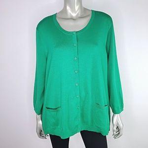 Talbots Womens Green Cardigan Sweater Plus Size 3X